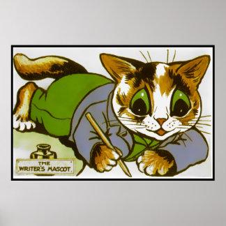 Impresión del poster de la mascota del escritor de