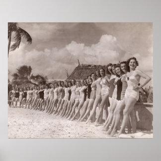 Impresión del poster de los bañadores del vintage