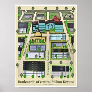 Impresión del poster de los bulevares de Milton Ke
