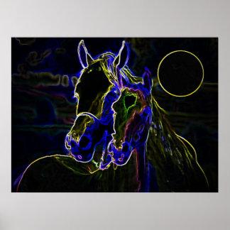 Impresión del poster de los caballos de Blacklight