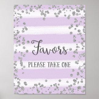 Impresión del poster de los favores del boda