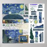 Impresión del poster de Van Gogh Papercraft de la