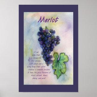 Impresión del poster del arte de las uvas de vino