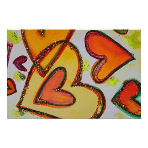 Impresión del poster del arte de los corazones de