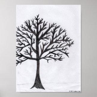 Impresión del poster del arte del árbol del invier