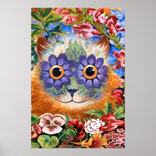 Impresión del poster del arte del gato de la flor
