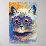 Impresión del poster del arte del gato del flower