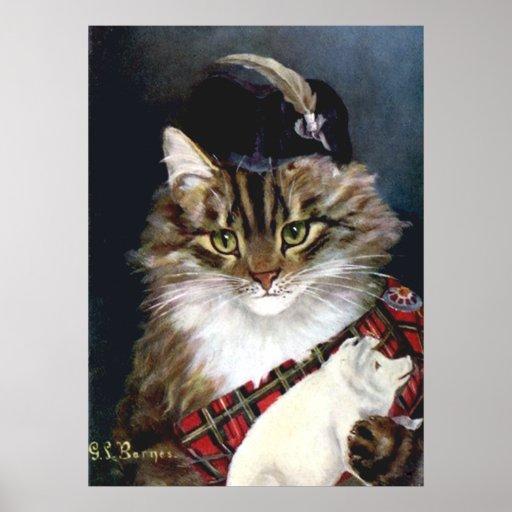 Impresión del poster del arte del gato del vestido