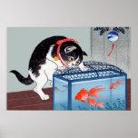 Impresión del poster del arte del gato y del Goldf