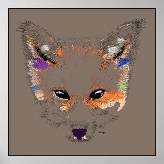 Impresión del poster del arte pop del Fox gris