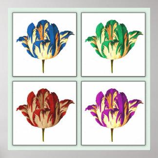 Impresión del poster del arte pop del tulipán de R
