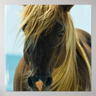 Impresión del poster del caballo del mustango