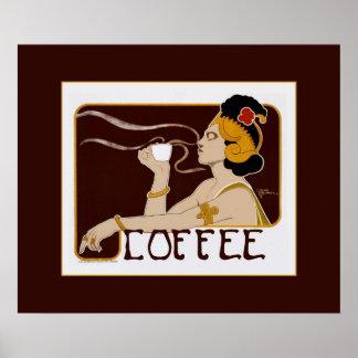 Impresión del poster del café de Nouveau del vinta