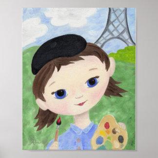 Impresión del poster del chica del artista