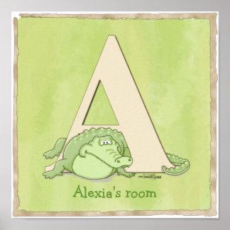 Impresión del poster del cocodrilo de ABC