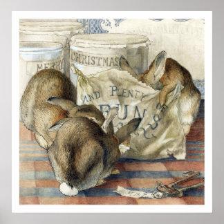 Impresión del poster del conejo de las Felices Nav