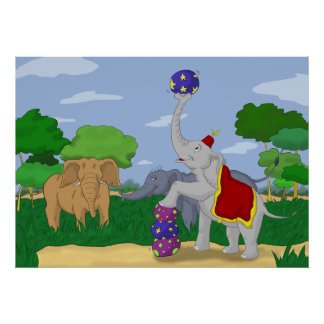 Impresión del poster del dibujo animado del elefan