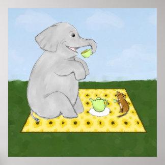Impresión del poster del elefante y del ratón de l