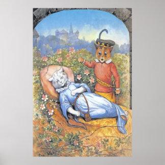 Impresión del poster del gato de la bella durmient