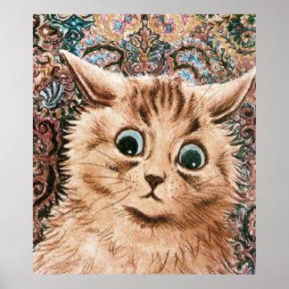 Impresión del poster del gato del papel pintado de