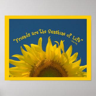 Impresión del poster del girasol de la amistad
