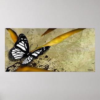 Impresión del poster del Grunge de la mariposa