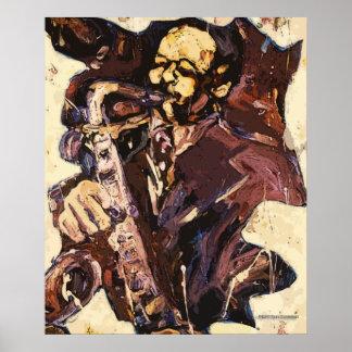 Impresión del poster del hombre del saxofón