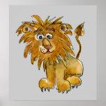 Impresión del poster del león del dibujo animado