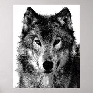 Impresión del poster del lobo gris