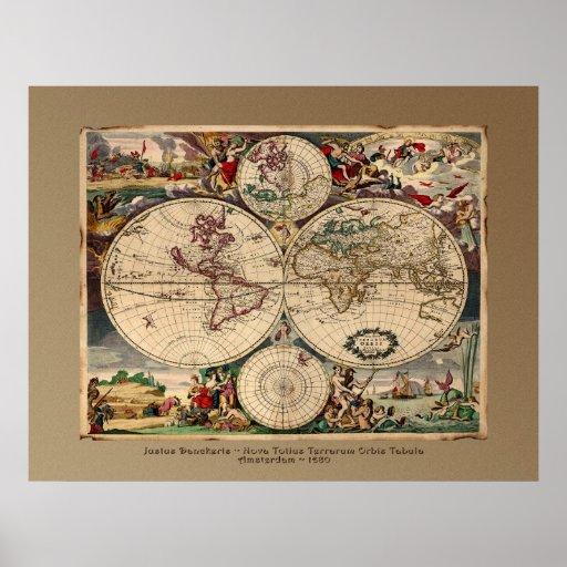 Impresión del poster del mapa de Viejo Mundo de