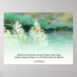 Impresión del poster del paisaje del verde azul de