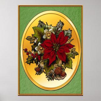 Impresión del poster del Poinsettia del navidad v