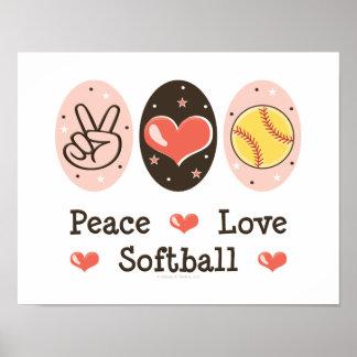 Impresión del poster del softball del amor de la p