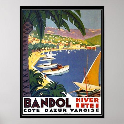 Impresión del poster del viaje de Bandol Cote d'Az