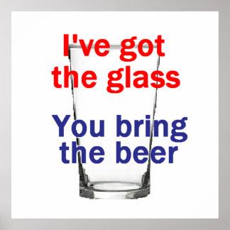Impresión del POSTER del vidrio de cerveza