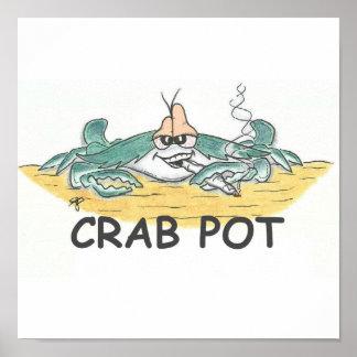 Impresión del pote de cangrejo póster