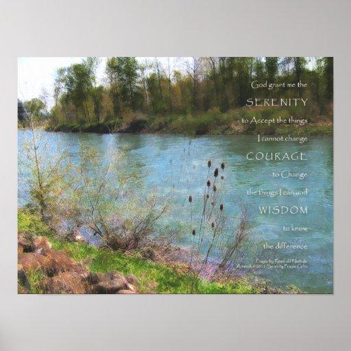 Impresión del río del rezo de la serenidad póster