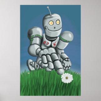 Impresión del robot de la cosecha de la margarita posters
