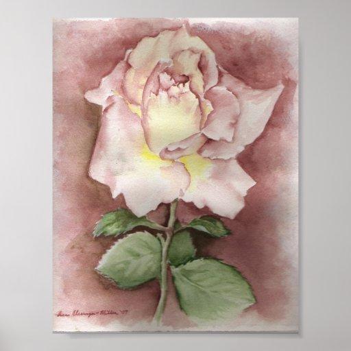 Impresión del rosa de la acuarela póster