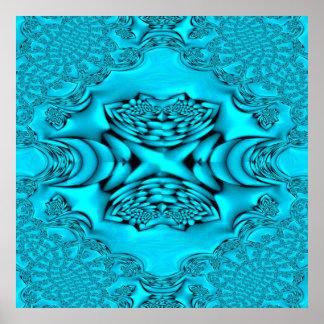 Impresión del rosa del fractal del resplandor de l poster