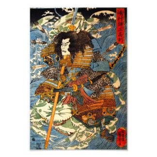 Impresión del samurai de Kuniyoshi Fotografias