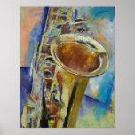 Impresión del saxofón póster