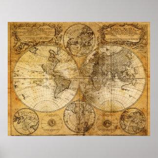 Impresión del siglo XVII del poster del mapa de