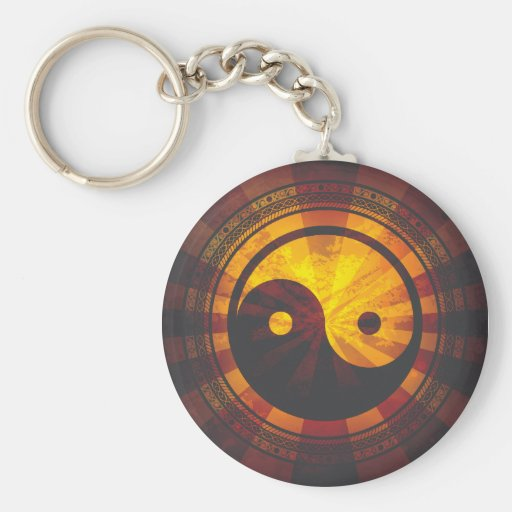 Impresión del símbolo de Yin Yang del vintage Llavero Redondo Tipo Pin