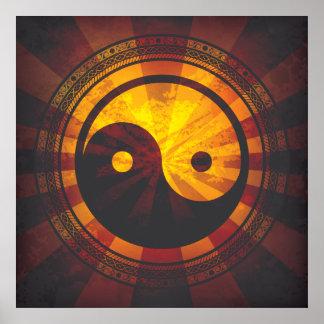 Impresión del símbolo de Yin Yang del vintage Póster