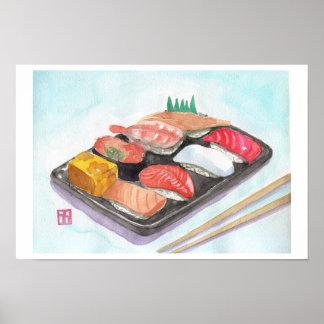 Impresión del sushi póster