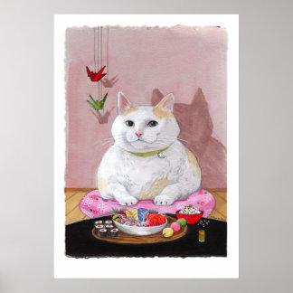 Impresión del Sweetie del Sashimi del gato del sus Póster