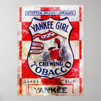 Impresión del tabaco de mascar del chica del yanqu posters