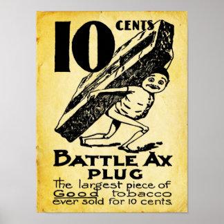 Impresión del tabaco del hacha de la batalla del posters