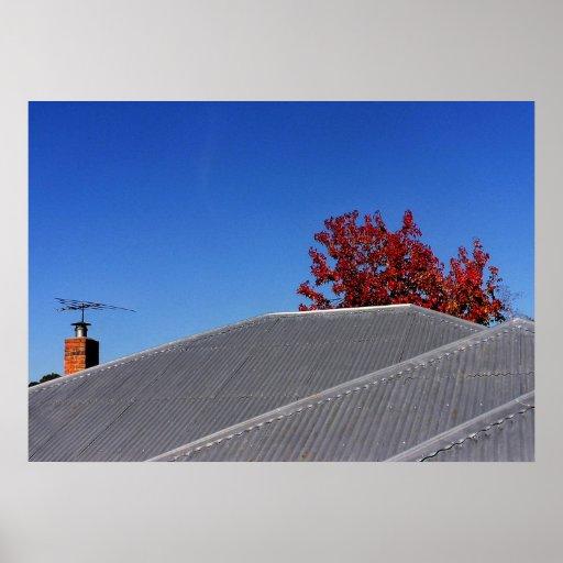 Impresión del tejado del día claro poster